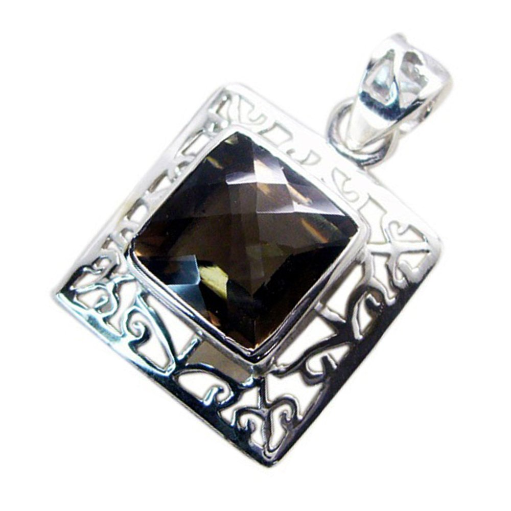 Jewelryonclick Real Smoky Quartz 925 Silver Pendant for Women Necklace Square Cut Chakra Healing Handmade