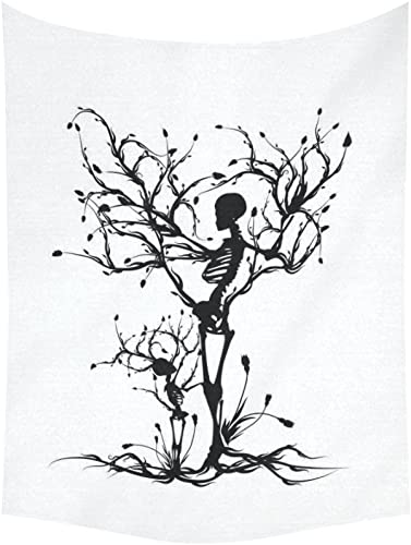 INTERESTPRINT Tree of Life Wall Art Home Decor, Skull Tree Black and White Tapestry Wall Hanging Art Sets 80 X 60 Inches