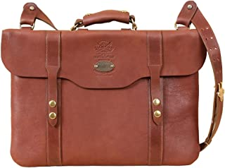 product image for Mens | Womens | Leather | Document Bag | Laptop | Briefcase | Shoulder Strap | Brass | Brown | Made in USA | Gift Idea