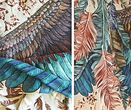 Bird Feathers Scarf, Silk & Cashmere Exotic Feathers Women's Scarf, Wrap by Shovava (Image #6)