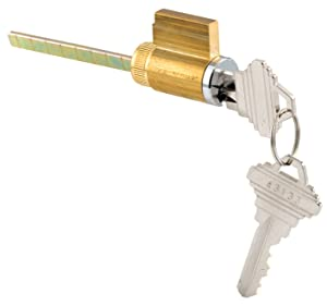 Key Cylinder Lock w/Keys, 1-7/8 in. Tailpiece, Brass Housing, 2 Replacement Keys