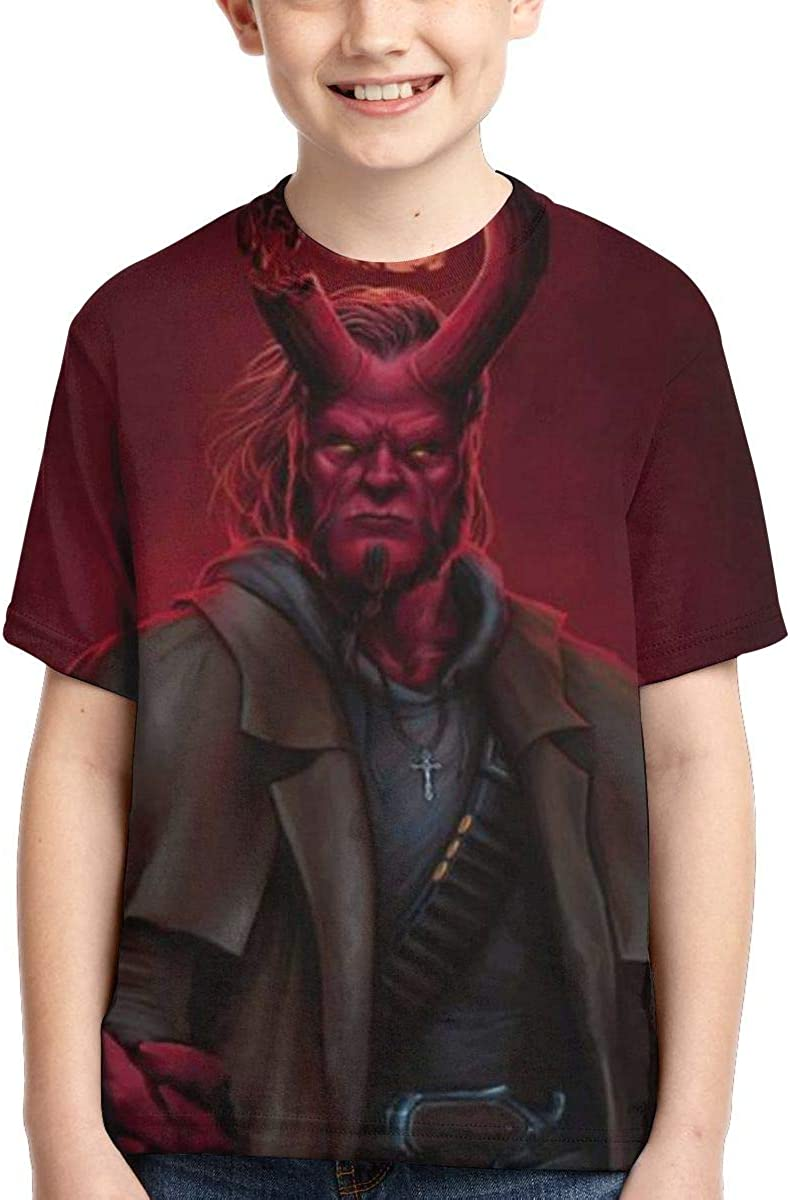 Joess Hell-Boy T-Shirt 3D Full-Width Printing for Teenager Boys Girls Kids Summer Polyester Shirts