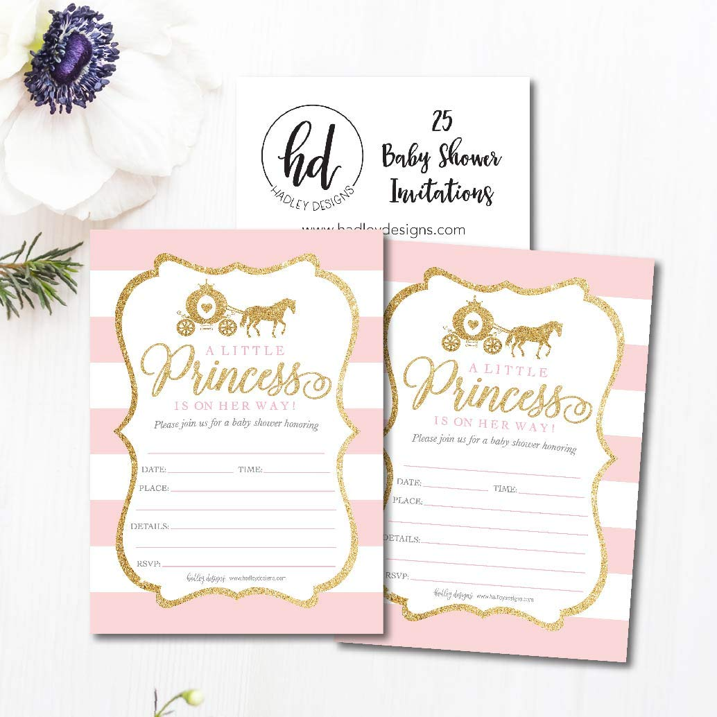 25 Little Princess Baby Shower Invitations, Pink & Gold Sprinkle Invite for Girl, Modern Gender Theme On Her Way, Cute Printed Fill or Write in Blank Printable Card Unique Coed Party Supplies by Hadley Designs (Image #3)