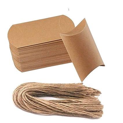 awtlife 50 pcs Vintage papel kraft natural almohada cajas de boda Candy