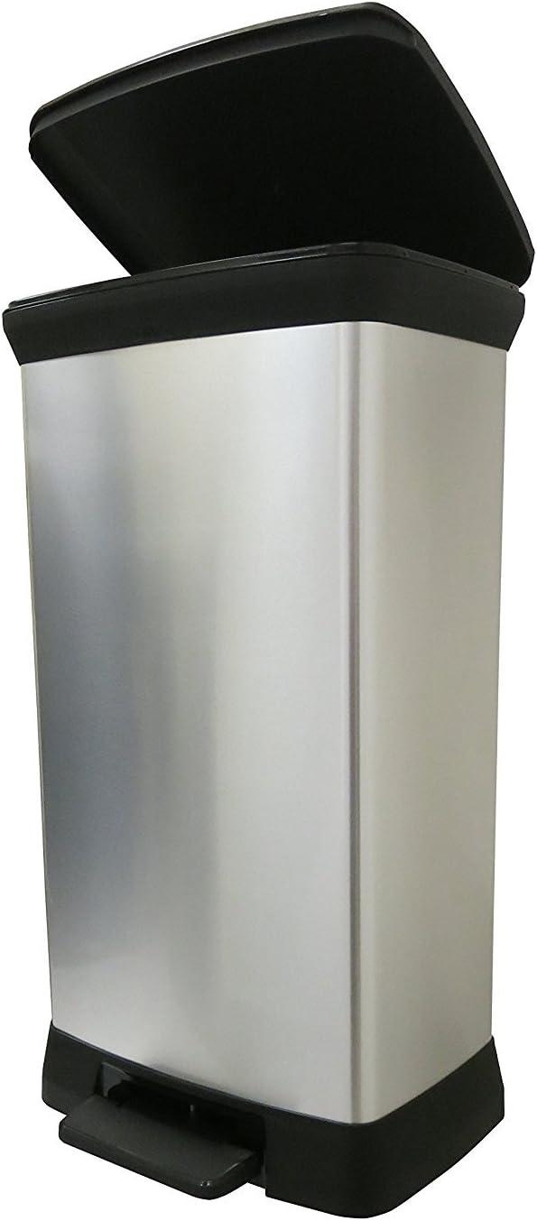 Curver Papelera de plástico efecto metal con pedal Touch Deco con cierre suave, plateado, 50 litros, 39 x 29 x 72 cm