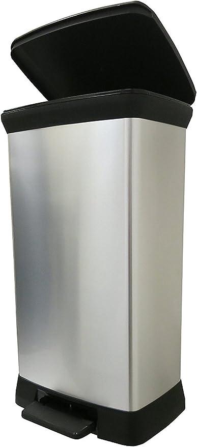 Metalic pl/ástico 39/x 29/cm CURVER Cubo de Basura Deco Bin Pedal 50L V2