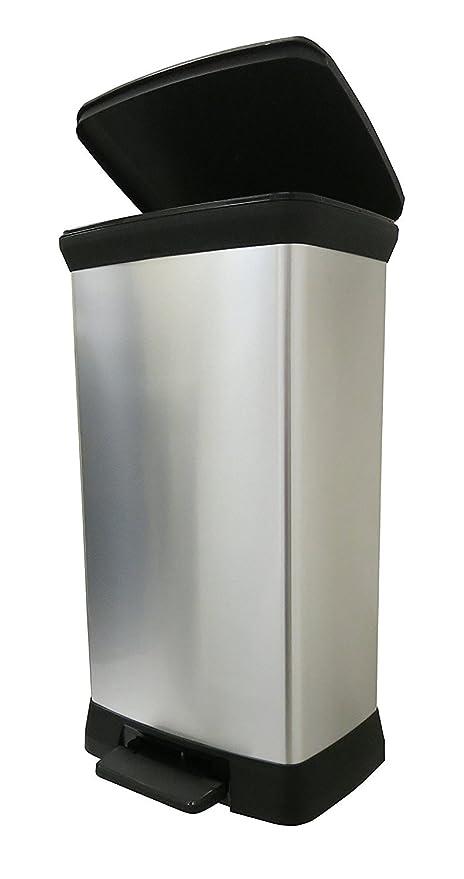 CURVER 50 L Metal Efecto Pedal de plástico Touch Deco Papelera, Plateado, 39 x 29 x 72 cm