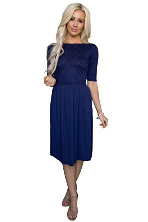 44aea95db29f Jada Modest Lace Dress or Bridesmaid Dress in Navy Blue - XS, Modest Semi-