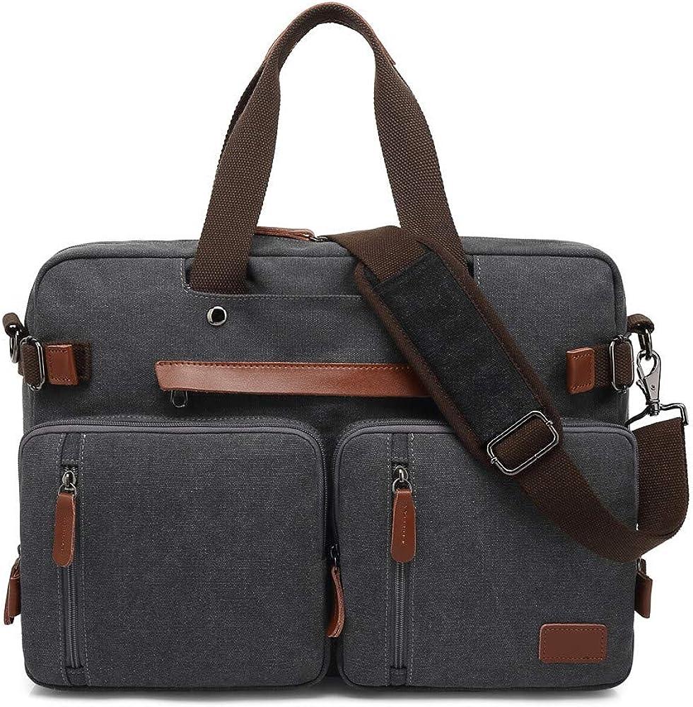 MRPLUM Convertible Backpack Multifunctional Canvas Shoulder Handbags Messenger Bag Laptop Case Fit 17inch Laptop Men Women