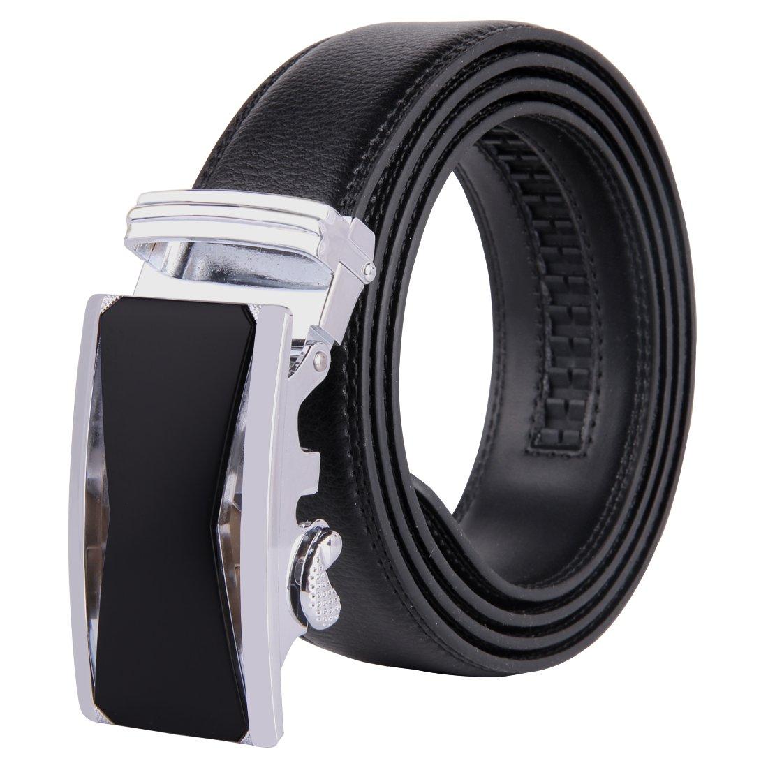JINIU Men's Leather Belt Automatic Buckle 35mm Ratchet Dress Black Belts Boxed JINIU-Belts-b1-KT1