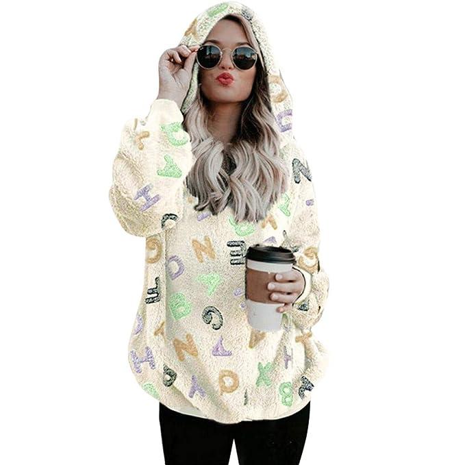 Btruely Herren Chaqueta Suéter para Mujer, Abrigo Jersey Mujer Invierno Talla Grande Hoodie Sudadera con Capucha Mujer Caliente Abrigo cálido Bolsillo de ...