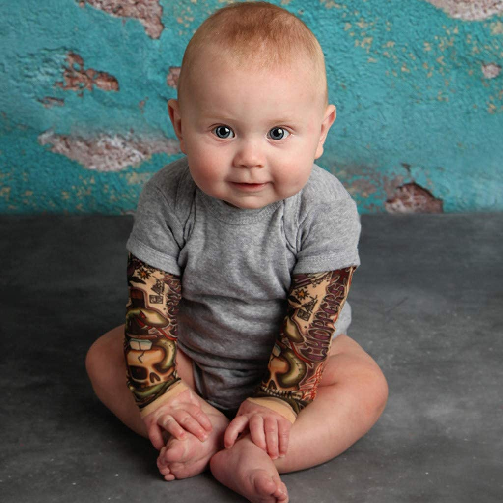 Toddler Baby Kids Boys T-Shirt with Mesh Tattoo Printed Sleeve Floral Tee Tops