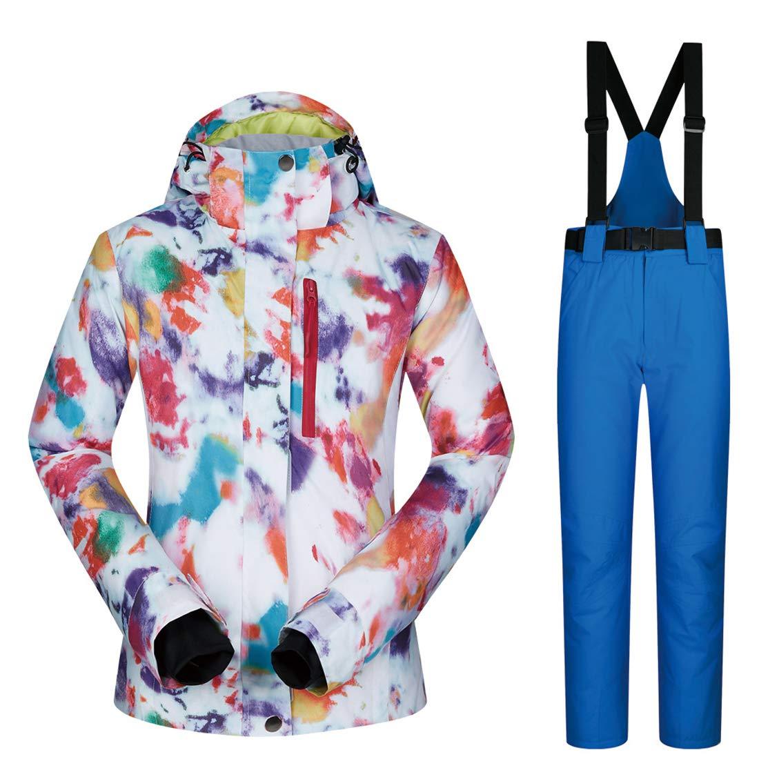 スキーウェア レディース 上下セット スノーボード ウェア ジャケット パンツ ズボン スキースーツ スノーボードウェア セットアップ 保温 防寒 防風 撥水 防水 女性 アウタージャケット スーツ スポーツコート スノボウェア 上着+ロイヤルブルー Large