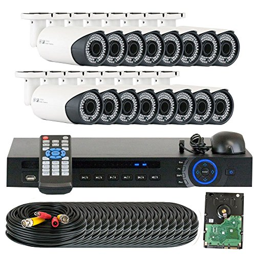 GW 16 Channel 1080P Preview 720P Realtime (16) Varifocal Zoom 200 feet IR Night Vision Outdoor/ Indoor Security Camera DVR System with Pre-Installed 4TB Hard Drive