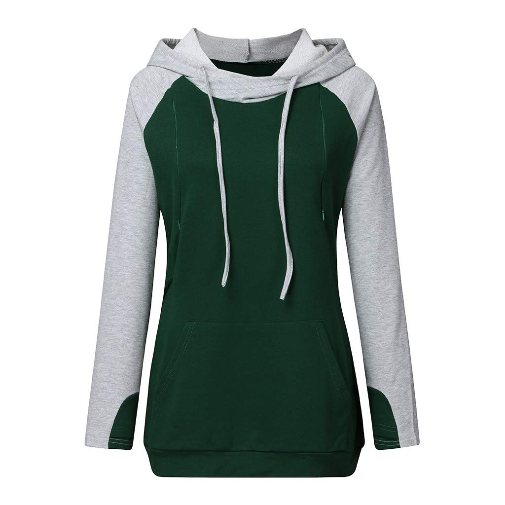 Women Pregnant Nusring Maternity Long Sleeve Splicing Tops Pullover Hooded Pullover T-Shirts Green by BINMUO