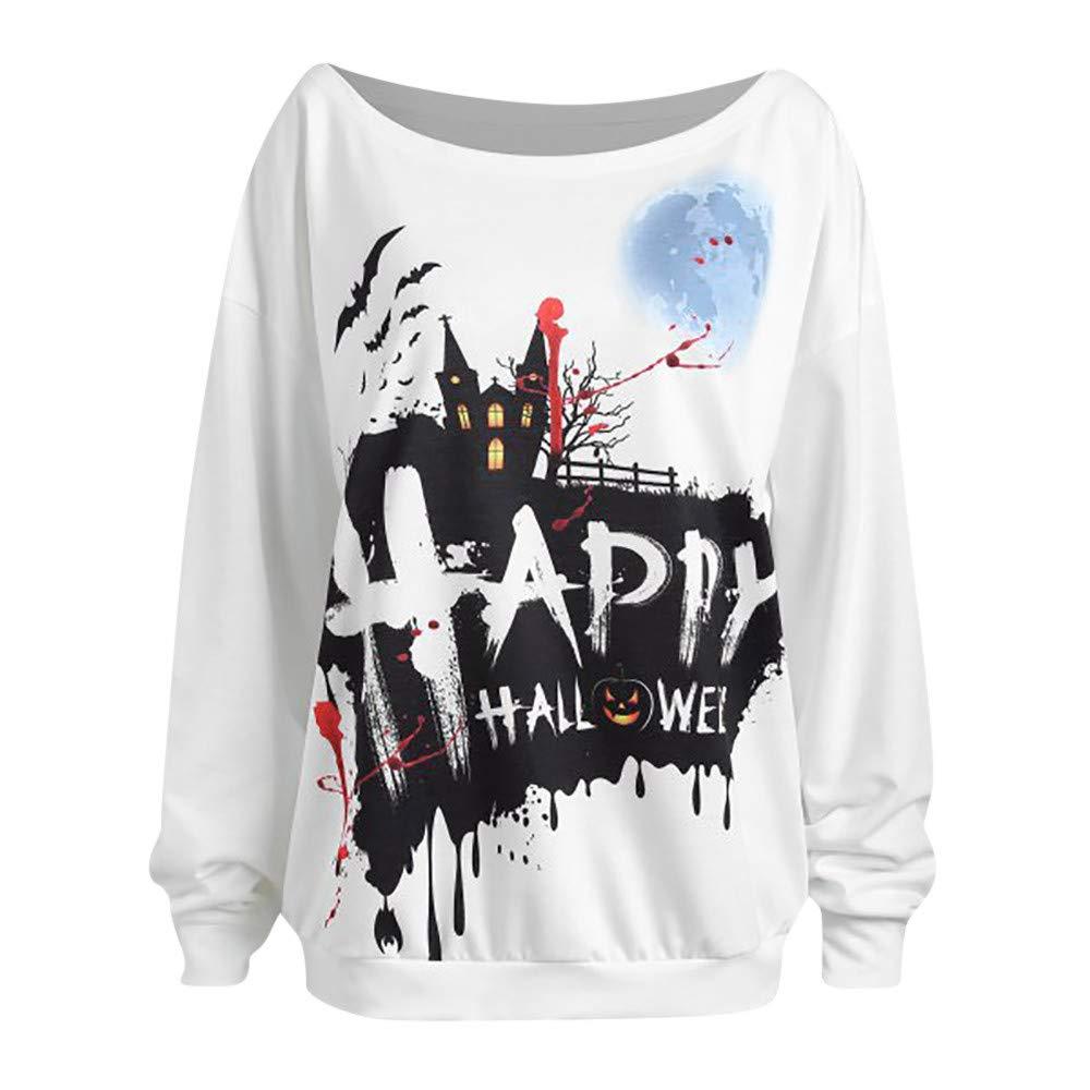 kaifongfu Ladies Sweatshirt with Halloween Pumpkin Long Sleeve Pumpkin Round Tops (White,S)