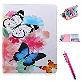 iPad 2 Case, Firefish iPad Case [Kickstand] [Bumper] PU Leather Protective Skin Anti-Slip Lightweight [Card Slots] Case for Apple iPad 2/3/4 - Butterflies