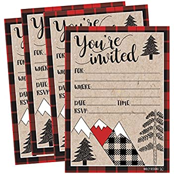25 Woodland Party Invitations Winter Bridal Or Baby Shower Invite Holiday Snowflake Birthday Invitation