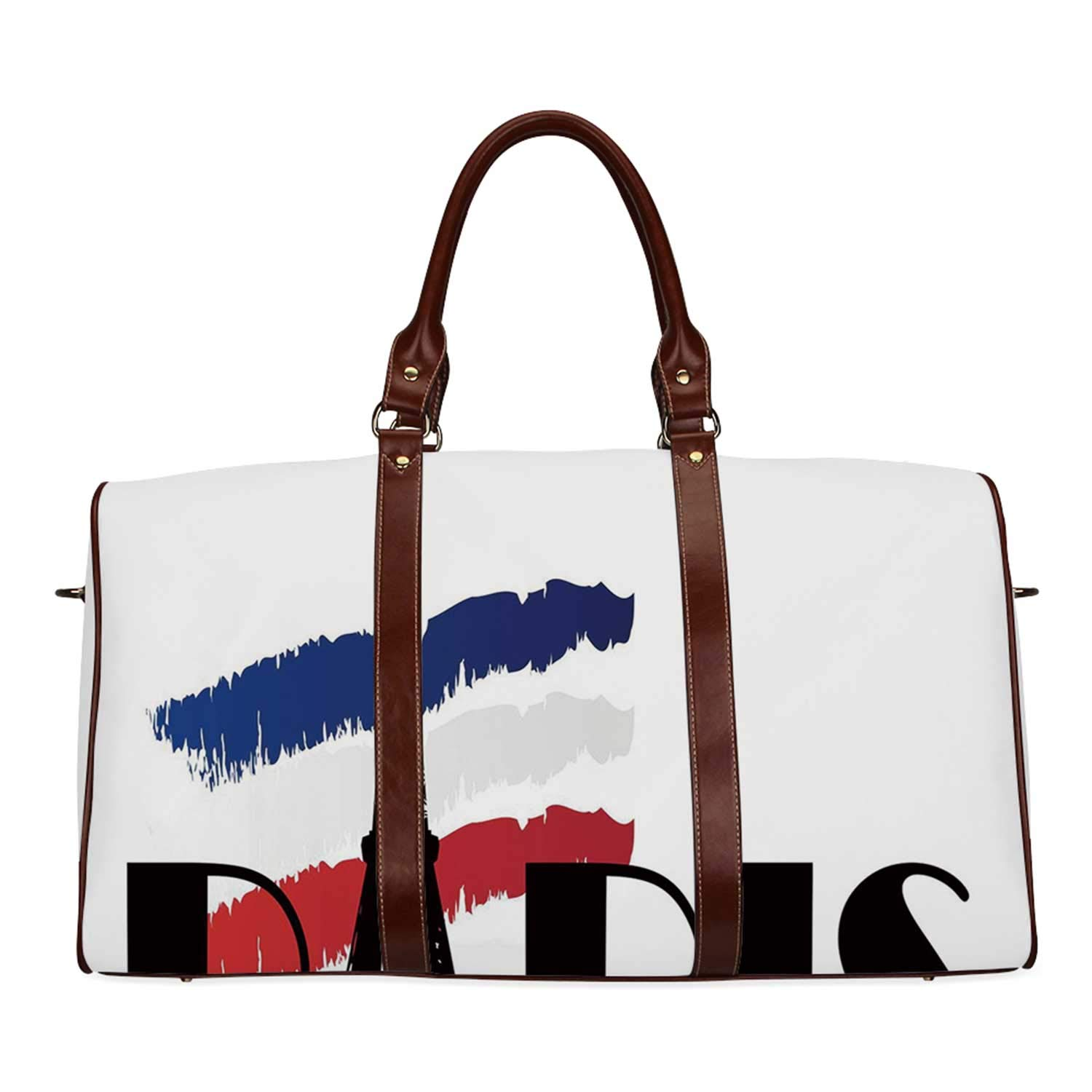 Doodle Practicality Travel Bag,Paris Typography with Eiffel Tower Figure and France Flag Tone Europe Image Decorative for School,20.8''L x 12''W x 9.8''H by YOLIYANA