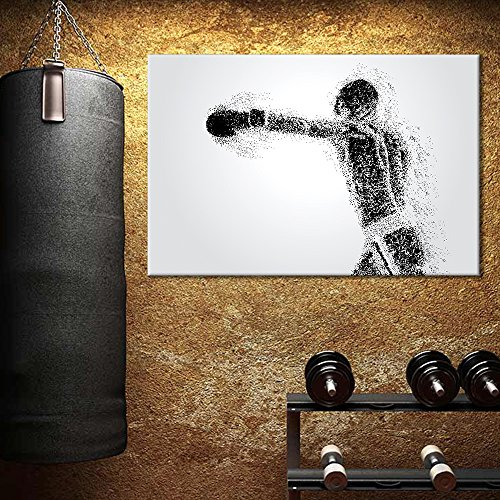 Sports Theme Abstract Figure a Boxer Formed Dots