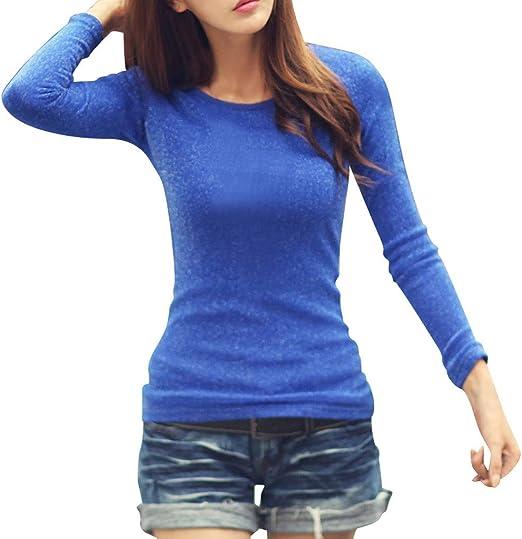 Xinxinyu Mujeres Delgado Camisa Brillante, Malla Estiramiento Blusas Pullover Grueso Manga Larga Tops, Otoño Casual Cuello Redondo Camiseta (L, Azul): Amazon.es: Ropa y accesorios