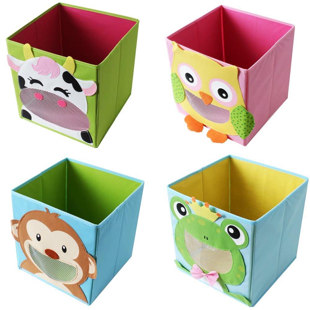 TE-Trend 4 Stück Textil Faltbox Spielbox Tiermotive Frosch AFFE Eule Kuh Aufbewahrung Truhe für Spielzeug faltbar 28 x 28 x 28 cm TE-Importe
