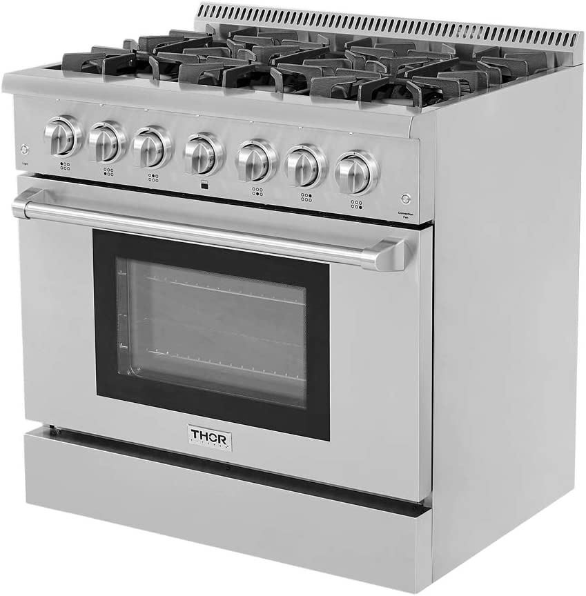 THOR KITCHEN HRD3606U 36inch Free Standing Stainless Steel Gas Range Electric Oven 6 Burner 5.2 Cu Ft