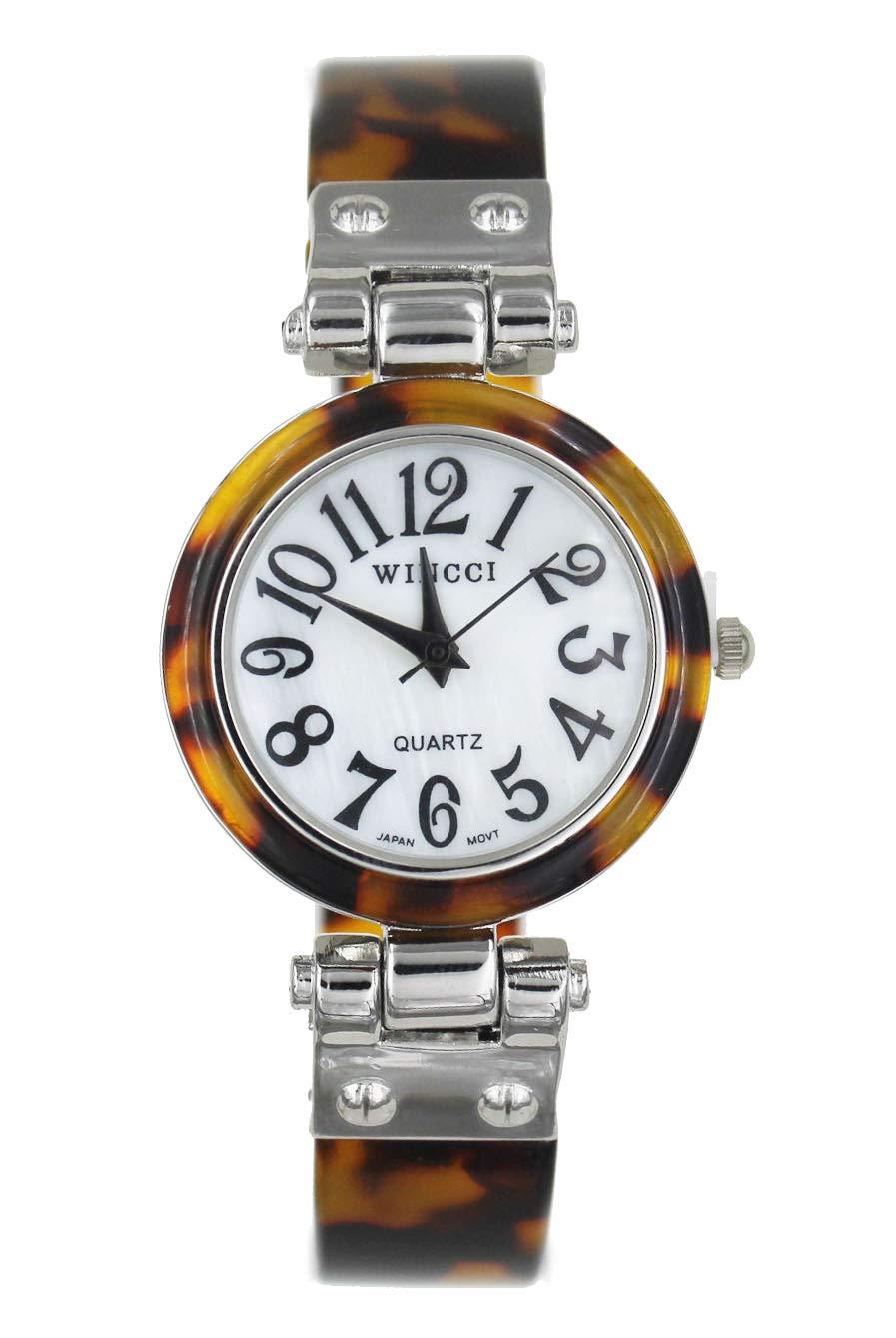 Women's Tortoise Silver Tone Bangle Cuff Watch