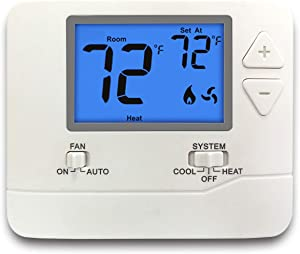 ELECTECK Digital Thermostat with Large LCD Display, Non-Programmable, Compatible with Single Stage Electrical and Gas/Oil System, Up to 1 Heat/1 Cool, White
