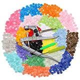 Arespark Snap Pliers + 300 set T5 Snaps Buttons, 20 Rainbow No-Sew Buttons and Fasteners Installation Puncher Attachment Setting Tool for DIY Crafts