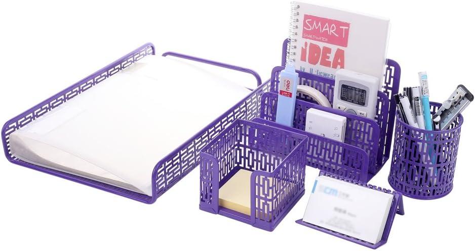 Crystallove Set of 5 Purple Metal Mesh Office Supplies Desktop Organizer, Style 1