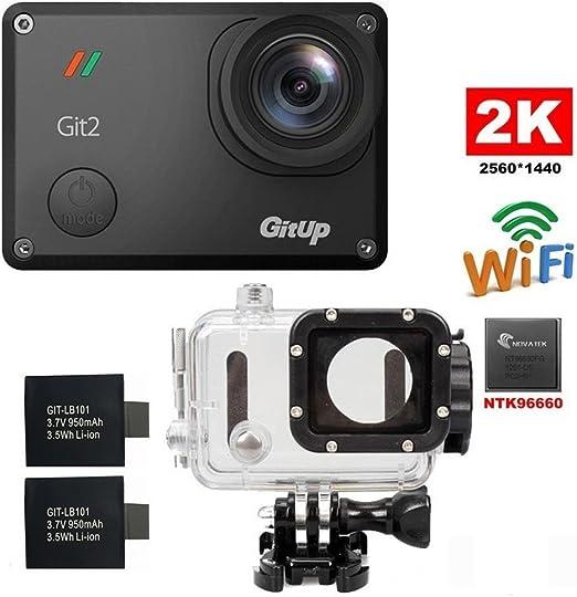 Riyc GitUp Git2 2 K 30fps Novatek 96660 1080P 60fps Full HD WiFi cámara al Aire Libre Impermeable Apoyo G-Sensor (with Extra 2 Batteries): Amazon.es: Deportes y aire libre