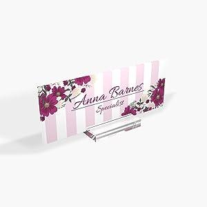 "Personalized Desk Name Plate for Office Sign Modern Office Women Decor Home Desk Name Plate Desk Name Sign Holder Magenta Flower - (8""x3"")"