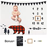 Play Tailor Baby Monthly Milestone Blanket Plaid Bear 40x50 in Ultra Soft Fleece Newborn Baby Shower Photography Background,