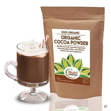 Cacao Orgánico en Polvo, Chocolate Negro Nutritivo y Vegano, Superalimento de Alta Calidad,