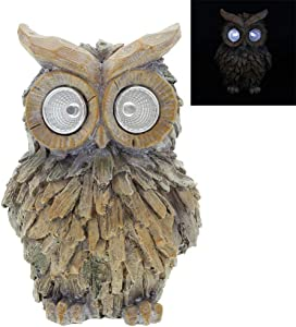 DreamsEden Solar Powered Garden Statue - Owl Figurine Animal Outdoor LED Light for Lawn Landscape Path Fence Ornaments Decoration