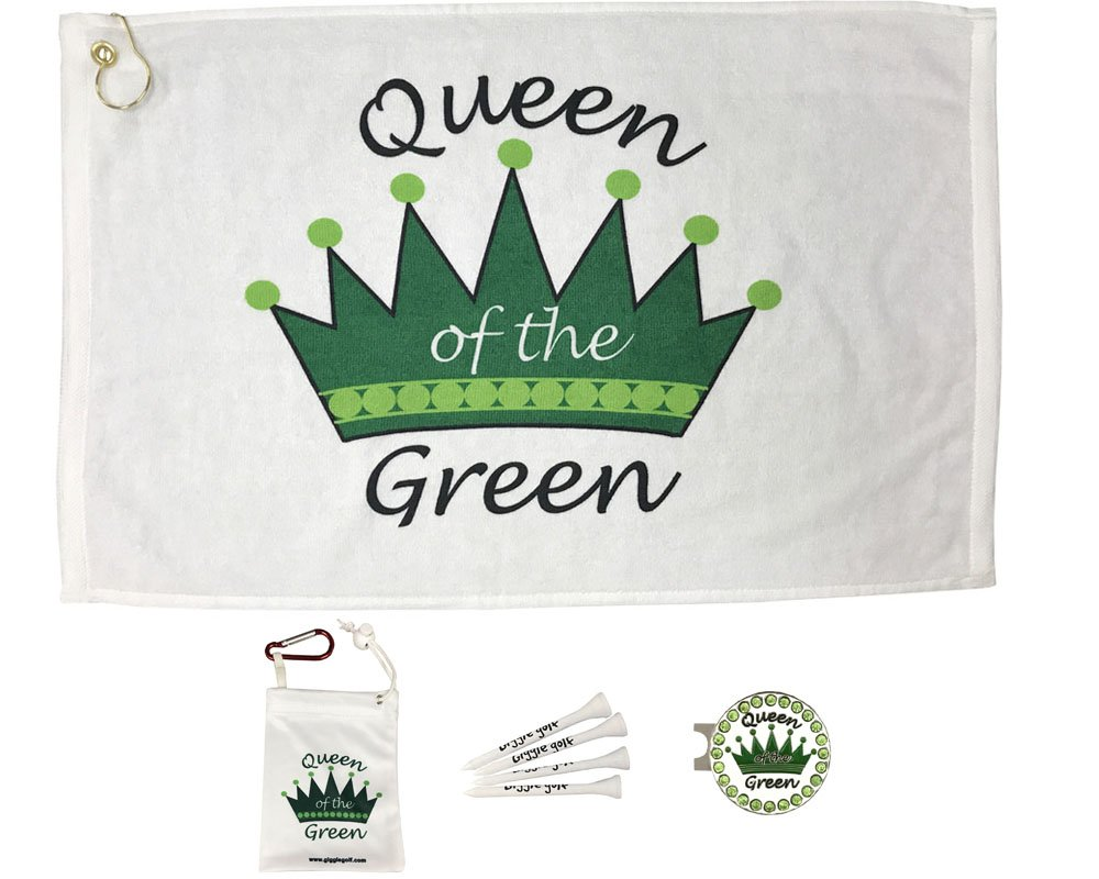 Giggle Golf Par 3 - Queen of The Green Towel, Tee Bag and A Bling Ball Marker with Hat Clip - Perfect Golf Gift for Women