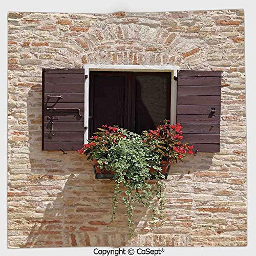 AmaUncle Microfiber Square Towel,Antique Looking Window on an Ancient Stone Wall with Flowers Pienza Tuscany Picture,Suitable for Camping,Running,Cycling,Gym(9.84x9.84 inch),Brown ()