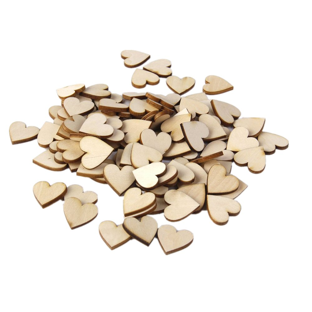 100xToruiwa Wooden Chip Love Heart Shaped Decorative Wooden Chip Craft Ornaments Handmade Accessories for DIY Scrapbooking Decoration 20mm