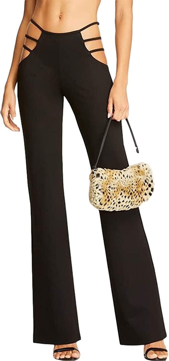 Women/'s Casual Strappy Pants Ruched Bandage Straight Activity Trouser Streetwear
