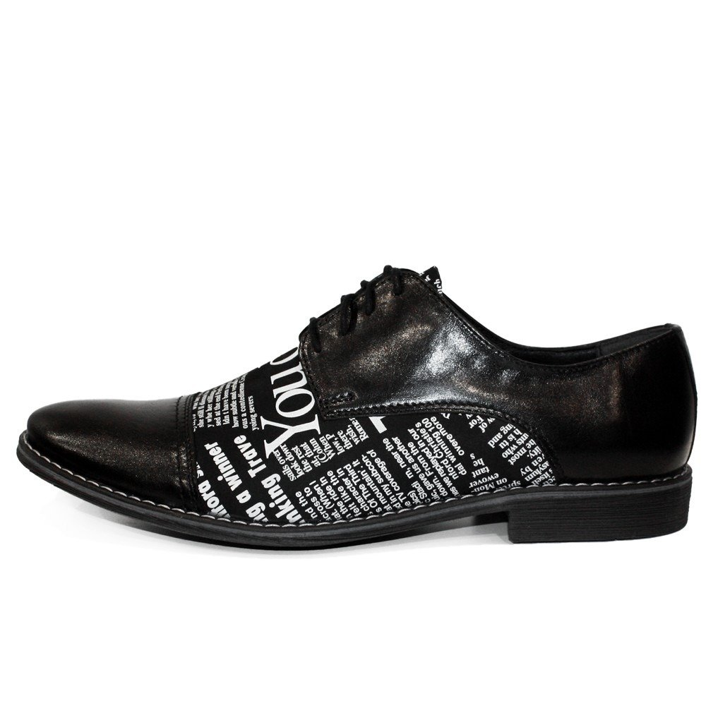 Modello Pano Lace-Up Cowhide Embossed Leather Handmade Italian Mens Color Black Oxfords Dress Shoes