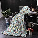 ice cream bar couch - hengshu Ice Cream Plush Blanket for Bed Couch Cute Cupcakes with Face Figures and Cone Bars Creative Funny Caricature Image Fluffy Decorative Blanket for Couch W59 x L70.5 Inch Multicolor