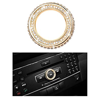 1797 Compatible Volume Knob Cap for Mercedes Benz Accessories Parts Bling W204 W213 C117 C E CLA GLA GLE Class Media Control Covers Decals Stickers Interior Decorations AMG Women Men Crystal Gold: Automotive