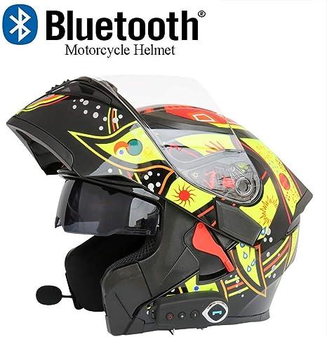 DOT-zertifizierung Doppelter Linse Verstecktes Mikrofon Wasserdicht Integralhelm Skyout Motorrad Bluetooth Klapphelm