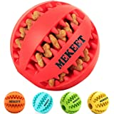 MEKEET Dog Rubber Ball Chew Toy, Bite Resistant Treat Dispensing Tooth Cleaning Puppy Toy for Small Medium Large dog (Red)