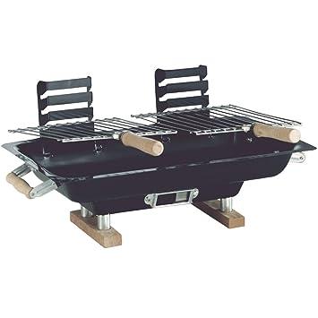 Hibachi barbacoa parrilla en mesa de chapa de acero, con 2 superficies grill, 47 x 26 cm | | Plegable para Camping Picnic barbacoa de carbón vegetal: ...
