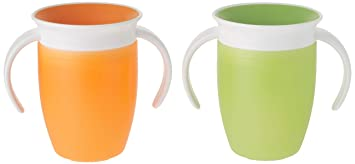 Pink//Orange 7 Ounce 2 Count Munchkin Miracle 360 Trainer Cup with handles