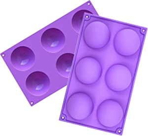 Nice-live Silicone Cake Pop Mold 2 Pack, Baking Molds for Cocoa Bombs Chocolate Cake Candy Mousse Jelly Pudding(Large, Purple)