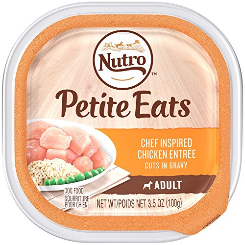 NUTRO Petite Eats Chef Inspired Chicken Entrée Cuts in Gravy, Adult Dog Food 3.5 Ounce Trays (Pack of 24); Recipe Rich in Nutrients and Full of Flavor, Crafted for Healthy Skin & Coat
