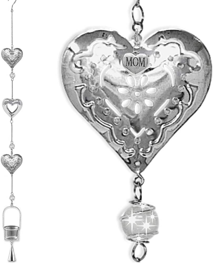 "BANBERRY DESIGNS Mom Garden Decor- Metal Hearts, Sun Catcher Marbles, Candle Holder Bell Chime-Unique Garden Deck Patio Gift Idea for Mom - 44"" H"